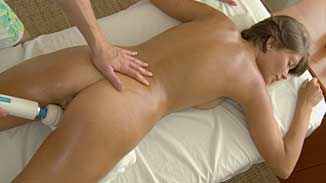 table Naked women on massage
